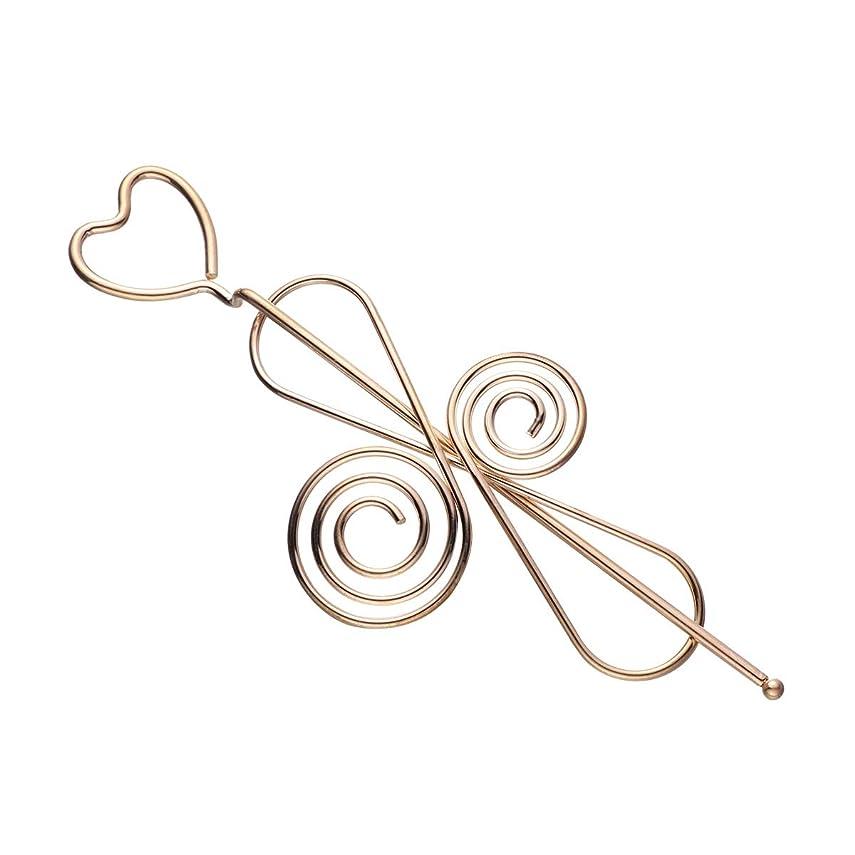 予備ダーベビルのテス夕方LURROSE 女性のための中空の愛の心ちょう結びのヘアスティックメタルヘアアクセサリーヘア箸女の子(中国の結び目)