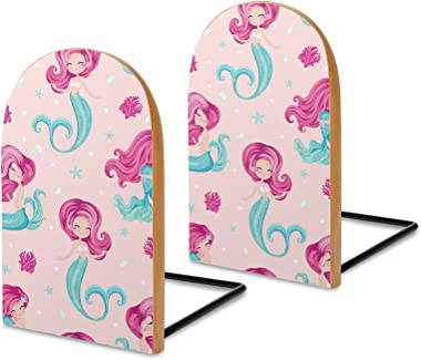 Mermaid with Pink Hair Book Ends for Shelves Wooden Bookends Holder for Heavy Books Divider Modern Decorative 1 Pair