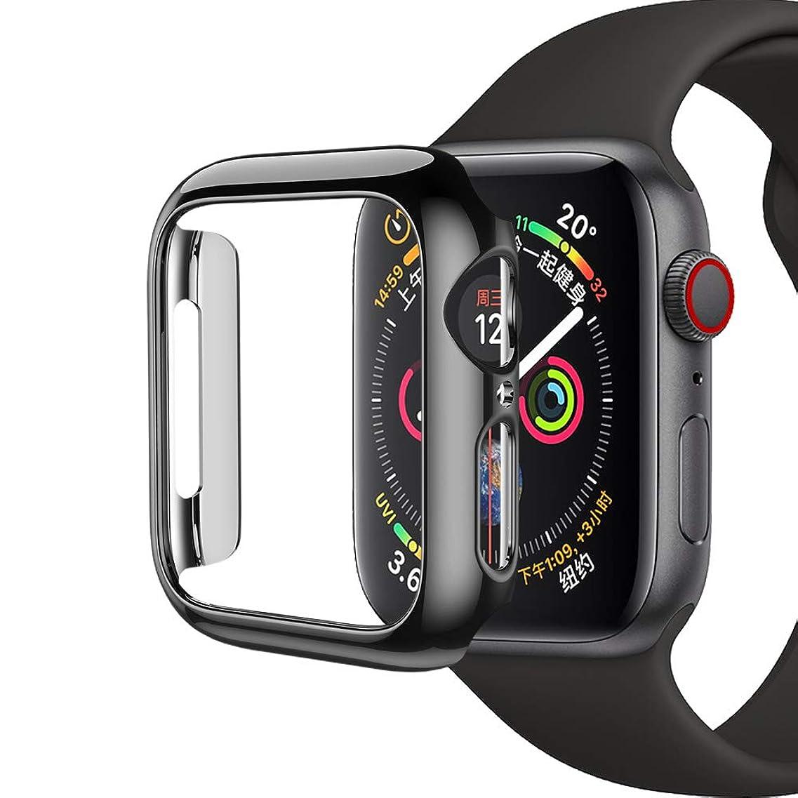 に賛成プラスチックメイトPINHEN Apple Watch Series 4専用 保護ケース アップルウォッチシリーズ4 TPU+PC材質 メッキ加工 保護カバー 軽量 脱着簡単 耐衝撃 Apple Watch4に対応 40mm/44mmケース (40MM, PC黒)