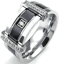 Daesar Stainless Steel Rings Mens Wedding Bands CZ Rings Silver Black Cubic Zirconia Ring