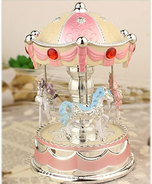 XuanMax Rotating Carousel Music Box 3 Horse Merry Go Round Toy With To Alice Melody Colorful Changing LED Night Light For Christmas Birthday Valentine S Day Pink