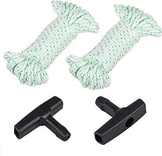 2 cuerdas de arranque de retroceso de 10 metros (diámetro: 3 mm), Sonku con 2 asas de arranque para motosierra Husqvarna Stihl Poulan cortacésped / cortacésped de cuerda