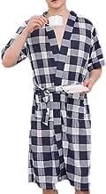 JBHURF Cotton Pajamas, Men's Short-Sleeved Cotton Bathrobes, mid-Length Bathrobes, Summer Thin Pajamas, Casual Home wear (Color : Multi-Colored, Size : S)