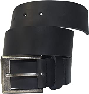 Men's Rustic Thick Leather Belt Handmade by Hide & Drink Includes 101 Year Warranty :: Charcoal Black