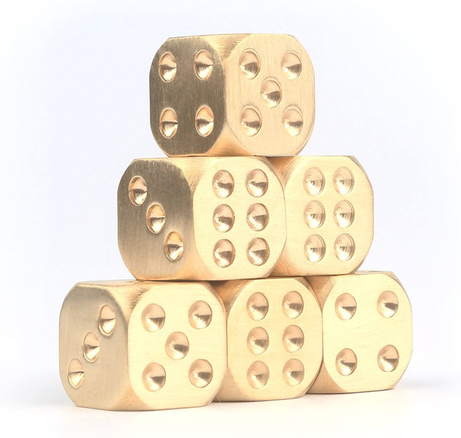 EKLOEN 6pcs Brass Dices Set, Manual Polishing Solid Brass Entertainment Accessories