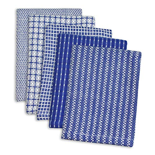 DII Ultra Absorbant Everyday Cotton Kitchen Towels Blue Dishcloth Set of 5 5 Count