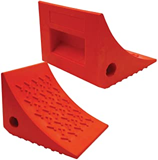SECURITYMAN 2 Pack Wheel Chocks - Constructed of Heavy Duty Solid Rubber for 20,000 lbs of RV, Trailer, Truck, Camper - Perfect on All Surfaces and in All Weather - Orange