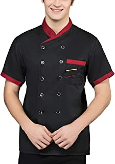 Womens or Mens Short Sleeve Unisex Classic Double-Breasted Chef Coat Jacket