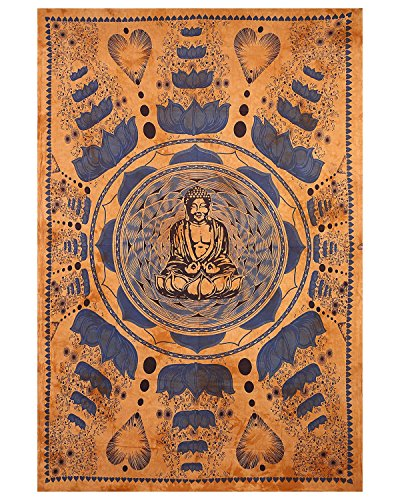 Gokul Handloom Buddha Meditation and Lotus Cotton Brown Wall Hanging Tapestry Indian Tapestry Throw Wall Art College Dorm Bohemian Wall