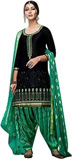 BHULKA ENTERPRISE Women's Cotton Embroidered Patiyala-Pe Semi - Stitched Salwar Suit With Duptta
