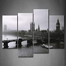 Black and White Long Bridge Boats Over Water Tall Buildings Wall Art Painting The Picture Print On Canvas City Pictures for Home Decor Decoration Gift