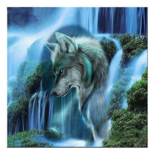 DOMYBEST Cascade Loup 5D Diamant DIY Peinture Kit Décoration de la Maison Artisanat 35 x 35 CM