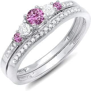 14K Round Pink Sapphire And White Diamond 5 Stone Bridal Engagement Ring Matching Band Set, White Gold