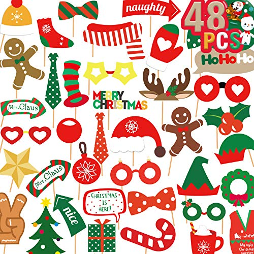 Funnlot 48PCS Christmas Photo Booth Props,Christmas Photo Props Xmas Photo Booth Props Kit Fun Holiday DIY Photo Prop for Kids Adults Xmas Photography Decorations