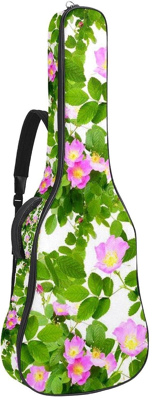 Patrón sin costuras de flores de rosas de perro, funda de guitarra acústica de espuma suave acolchada de 110 cm para guitarra con protector de cuello almohadilla de almohada