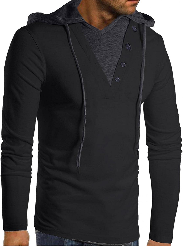 Qsctys Men's Sweatshirts Hoodies Cotton Blend Casual Lightweight Pullover Drawstring Hooded V Neck Long Sleeve Shirts