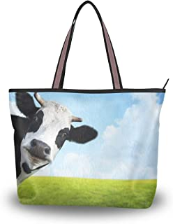 WowPrint Süßes Tier-Kuh Damen Handtasche Handtasche Große Kapazität Schultertasche für Schule, Arbeit, Reisen, Einkaufen, ...