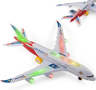 Bump And Go Electric Air Bou A380 Kids Action Airplane - Kidsthrill Big Model Plane With Attractive Lights And Sounds - Changes Direction On Contact - Best For Kids Age 3 And Up. (Colors May Vary)