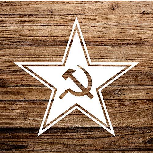 Vinyl-Aufkleber mit Hammer und Sichel, lustiger Aufkleber, Russland, Sowjetunion, Kommunismus, gestanzte Aufkleber für Auto, Stoßstange, Laptop, LKW, Fenster, Wände und mehr, weiß
