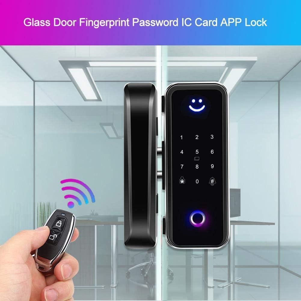 Intelligentes T/ürschloss Glast/ür Fingerabdruck Passwort IC-Karte Bluetooth APP Lock Zugangskontrollsystem schwarz