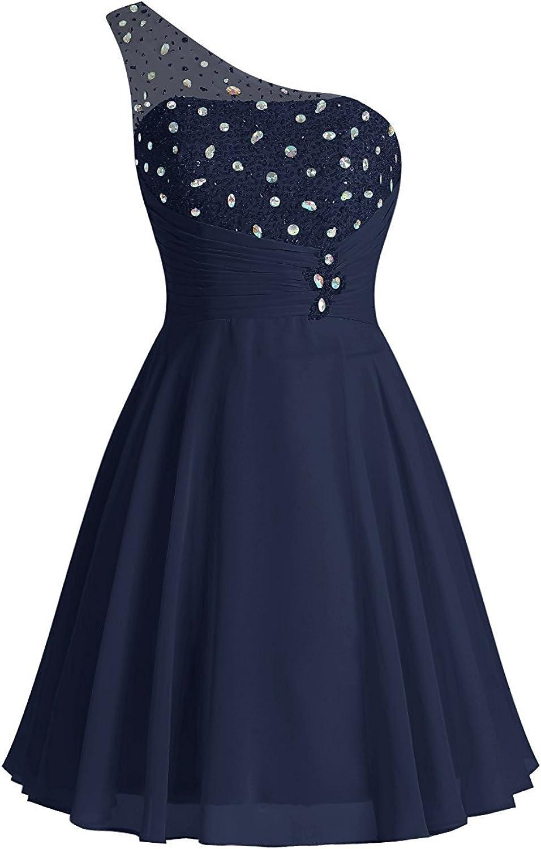 Victoria Prom Women's One Shoulder Beaded Short Mini Bridesmaid Dress