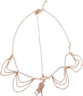 FRCOLOR Pearl Head Chain Jewelry Bridal Boho Headband Pearl Tassel Chain Wedding Headpiece Wedding Hair Accessories for Women Female
