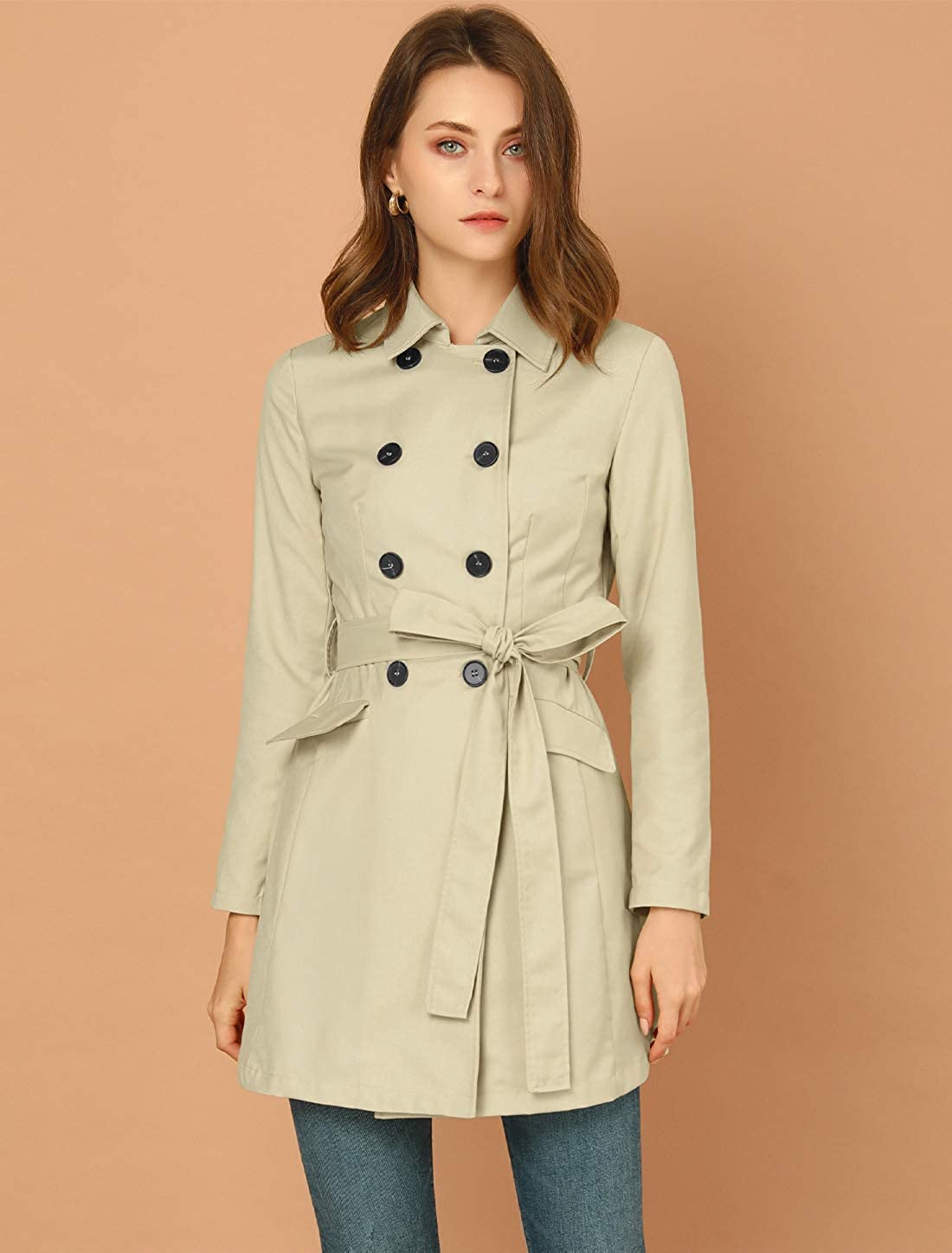 Allegra K Womens Business Button Closure Double Breasted Turndown Collar Trench Coat