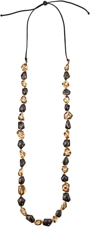 Tagua Bertha Fashion Necklace Tagua Nut Ethical Bead Slow Fashion Beaded Wooden Eco Friendly Boho Unique Handmade Statement Jewelry