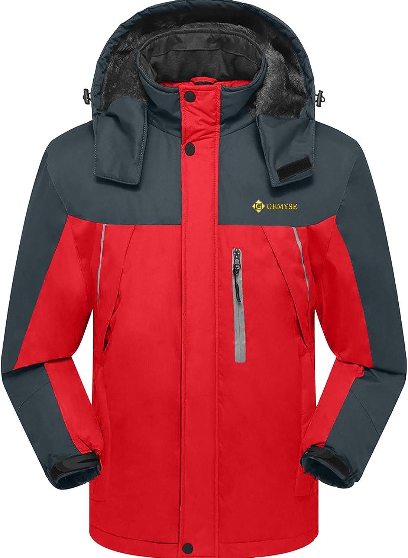 GEMYSE Mens Mountain Waterproof Ski Jacket Windproof Fleece Outdoor Winter Coat with Hood