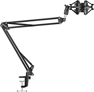 Neewer Adjustable Microphone Suspension Boom Scissor Arm Stand with Universal Microphone Shock Mount Holder for Radio Broa...