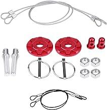 Qiilu 2PCS CNC Aluminum Alloy Car Racing Hood Pin Lock Appearance Kit Punch + Paste Two Methods Universal(Red)