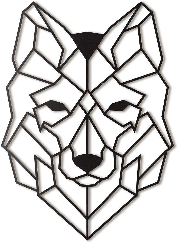 Wolf Metal Wall Art by Hoagard XL  Wolf Metall Wandkunst von Hoagard XL  65 cm x 90 cm  Geometrische Metallwandkunst & Wanddekoration