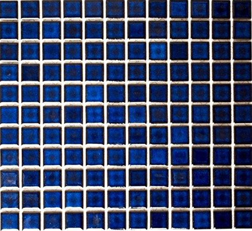 Mosaik Quadrat uni kobaltblau glänzend Keramik Mosaik, Mosaikstein Format: 2,5x2,5x6 mm, Bogengröße: 330x302 mm, 10 Bögen