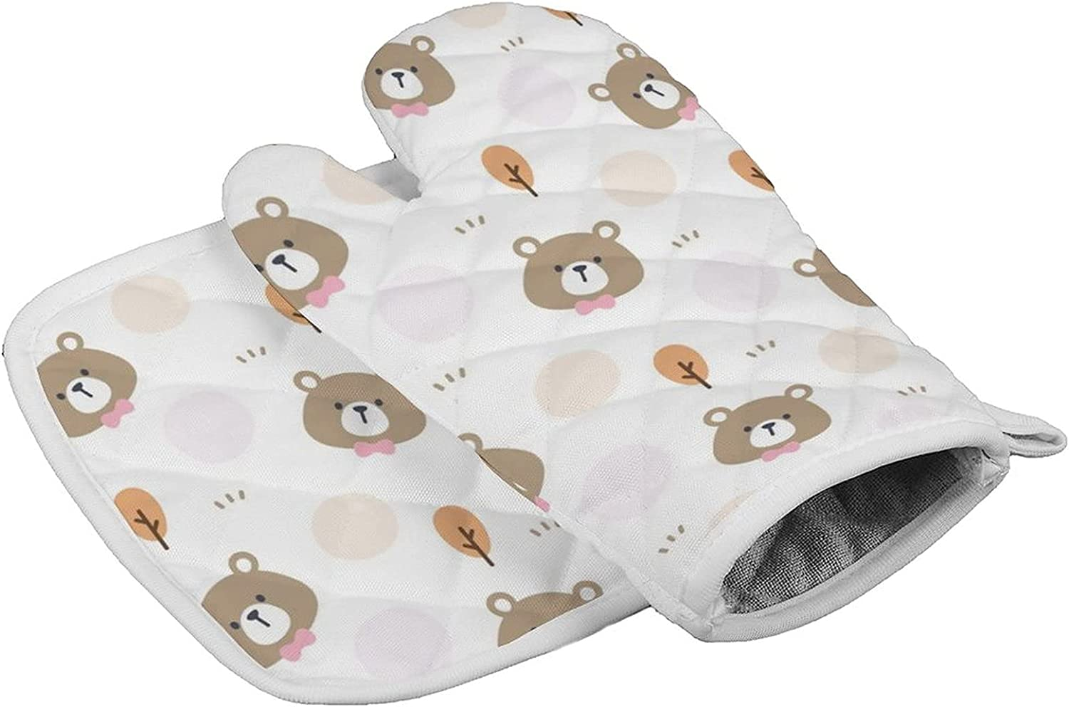 Cute Bear with Bow Tie and Tree Oven Mitts and Pot Holders Sets Cute for Cooking BBQ Grilling, Kitchen Oven Mitts Set Heat Resistant for Women for Big Hands