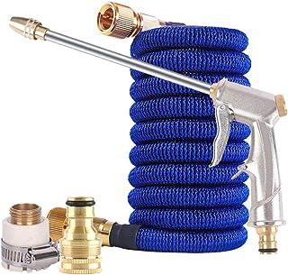 مسدس مياه مزود بمقبض مسدس عالي الضغط من Douself مع خرطوم مياه حديقة قابل للتوسيع (15.24 م) + مجموعة موصل الأنابيب