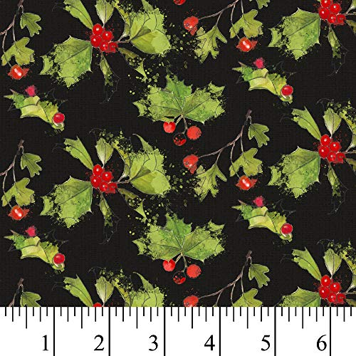 Christmas Holly & Berries Cotton Fabric by The Yard, Precut 1 Yard Pieces
