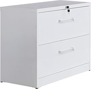 2 Drawer Lateral File Cabinet Filling Cabinet with Lock and Key Metal File Cabinet (White)