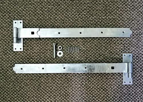 Bisagras de gancho y banda galvanizadas rectas/manivela/ajustables de 30,5 cm y 45,7 cm, se suministran en pares con todas las fijaciones (2 bisagras rectas, 24 pulgadas)