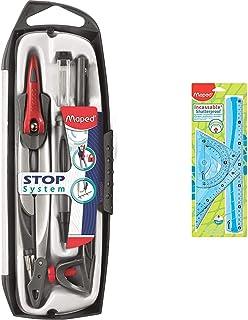 Maped - Coffret Compas Maped Stop System 5 pièces - Compas Mine + Bague + Porte-mine 0.5 mm & Kit de Traçage INCASSABLE 4 ...