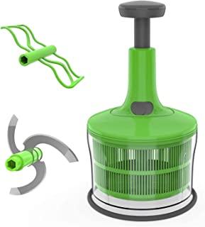 Vegetable food chopper | Handy Manual Chopper | Non-Electric Food Processor & blender with Stainless Steel Blades | Salad ...