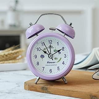 DDGOD Loud Alarm Clock for Heavy Sleepers,Classic Twin Bell Alarm Clock Desk Bedside Clock Silent Non Ticking Clocks with Backlight-Purple 8x5x12cm(3x2x5in)
