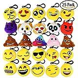 Aiduy Emoji Portachiavi, Mini Pop di Peluche Portachiavi, Portachiavi Decorazioni 6cm - Perfetto Regalo / Pensiero Regalo per Bambini,per Il Giorno dei Bambini, Natale, Compleanni (25 PCS)