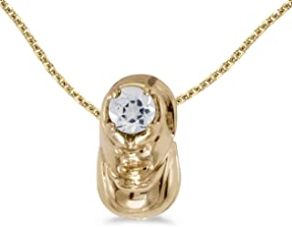 Cttw. FB Jewels Solid 10k Yellow Gold Genuine Birthstone Freshwater Cultured Gemstone Baby Bootie Pendant