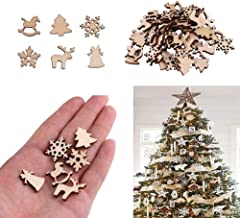 Sanwooden Lovely Christmas Wooden Decor 50Pcs Wooden DIY Christmas Tree Snowflake Star Hanging Ornaments Table Craft Fashi...