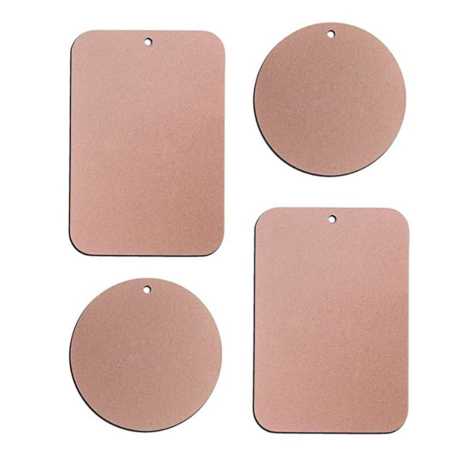 Metal Plate with 3M Adhesive Back for Magnetic Car Mount Cell Phone Holder GPS and Tablet Holder (2 Rectangle & 2 Round) (Rose Gold)