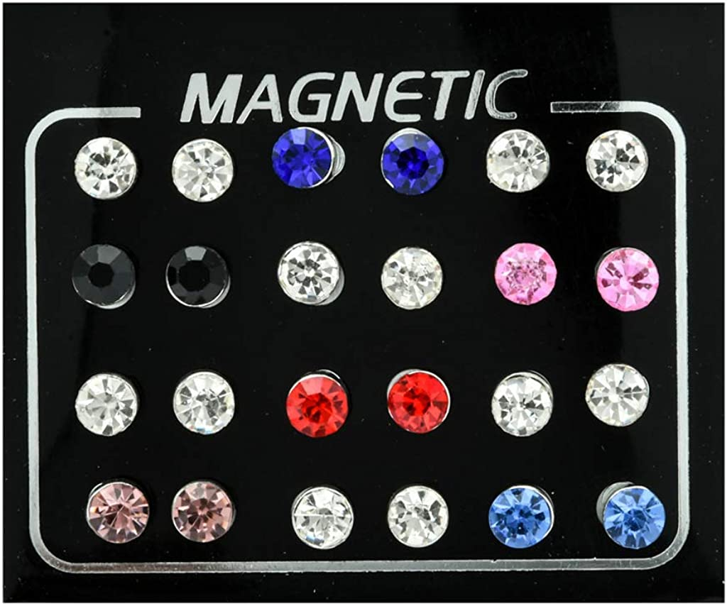 SprinZ 12 Pairs Non Pierced Rhinestone Magnetic Stud Earrings Clip-on Earrings Jewelry