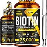 Liquid Biotin & Collagen 25,000mcg, Hair, Skin & Nails. Healthy Hair Growth Support Liquid Drops, Strong Nails, Glowing Skin, Healthy Hair Growth