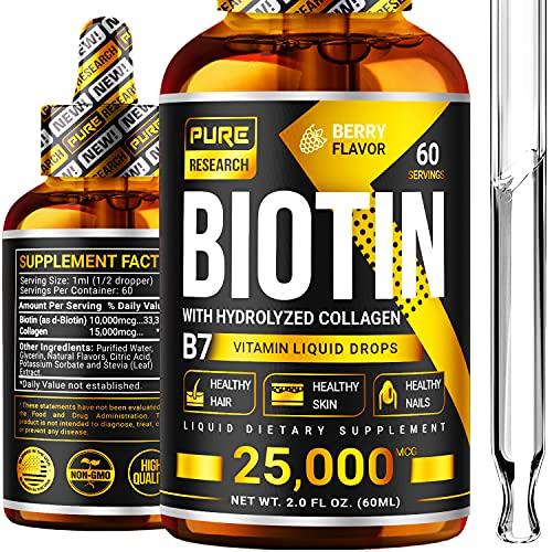 hair growths Liquid Biotin & Collagen 25,000mcg, Hair, Skin & Nails. Healthy Hair Growth Support Liquid Drops, Strong Nails, Glowing Skin, Healthy Hair Growth