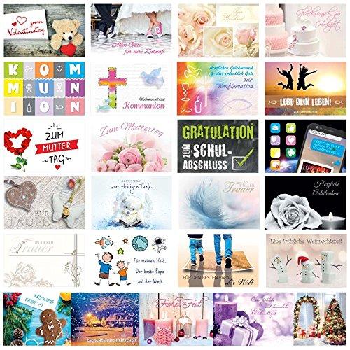 PRICARO Grußkarten-Set für alle Anlässe mit Briefumschlägen