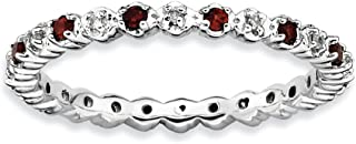 2.25mm Sterling Silver, Garnet & .04 Ctw Diamond Stackable Band (H-I Color, I3 Clarity)